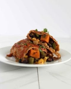 Vegan Sweet potato black bean enchilada recipe