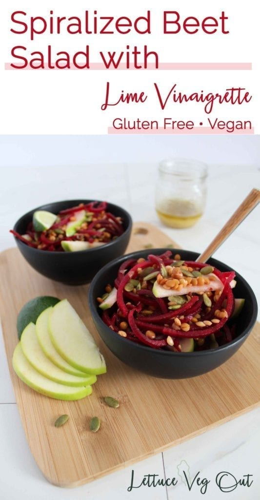 Spiralized Beet Salad with Plant-based Protein Lentils and Pumpkin Seeds
