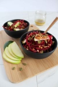 Spiralized Beet Salad with Lime Vinaigrette Dressing Gluten Free with Apple and Pumpkin Seeds