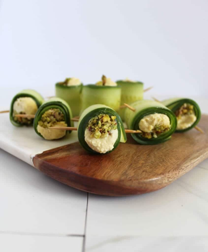 Cucumber rolls with vegan ricotta cheese and pistachio mint filling