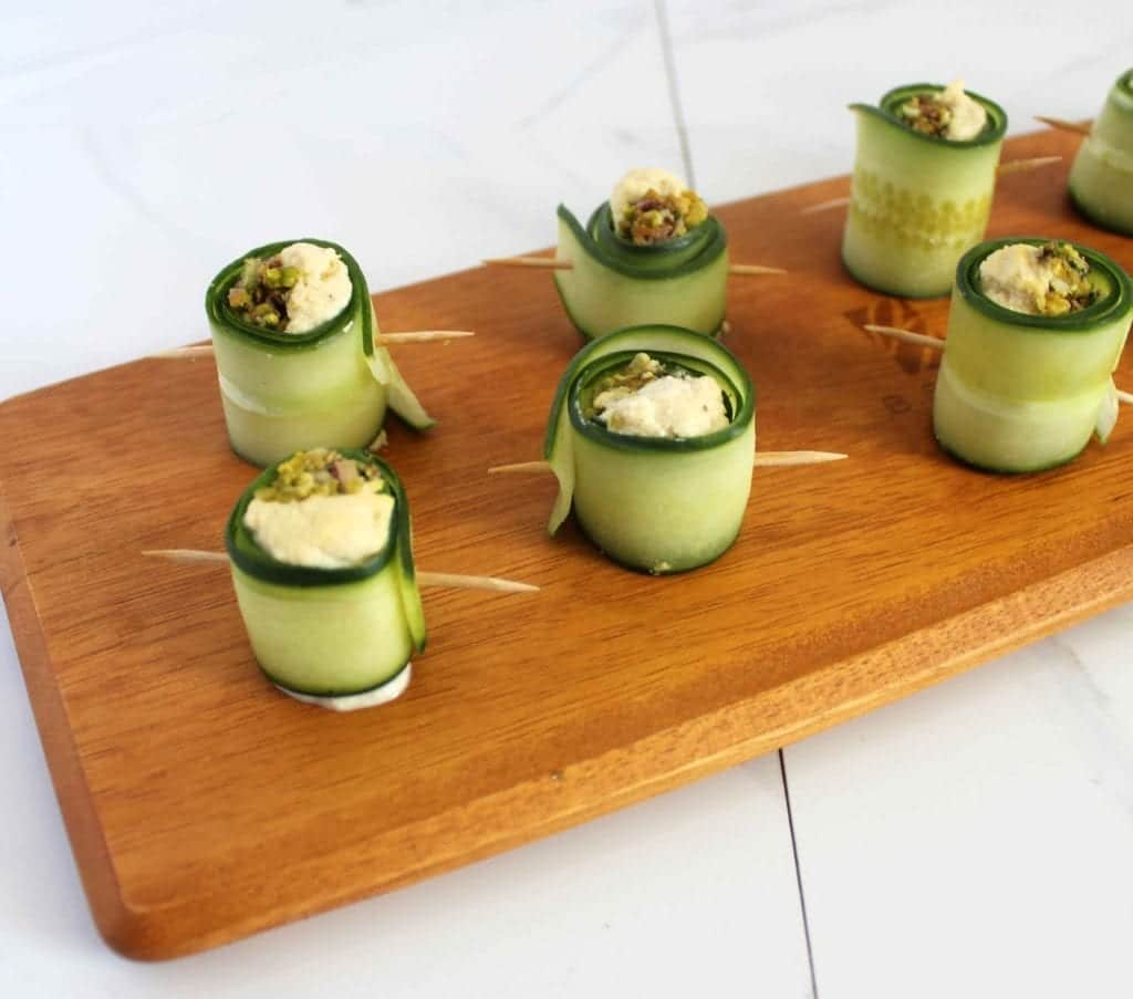 Healthy Vegan Appetizer with Whole Foods Gluten Free Cucumber Rolls