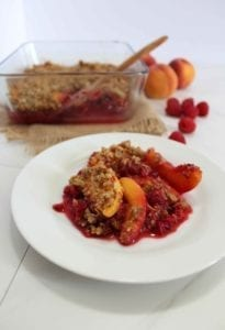 Healthy Raspberry Peach Crisp Recipe (Vegan)