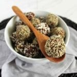 Vegan date ball recipe with coconut chocolate and peanut butter jam