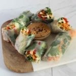 Protein and Vegetable Filled Vegan Spring Rolls with Peanut Sauce Recipe