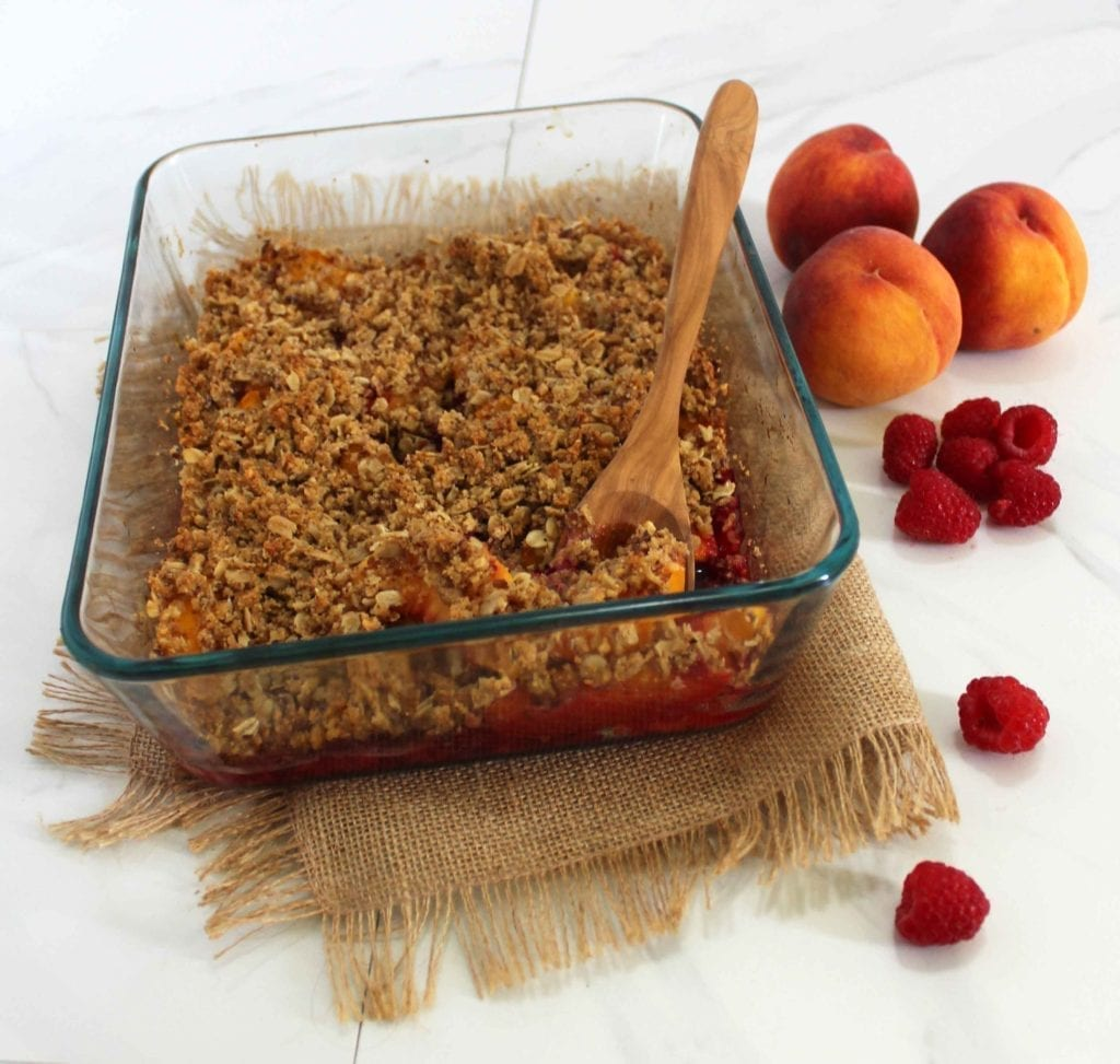 Raspberry Peach Crisp with Healthy Vegan Crumble Topping