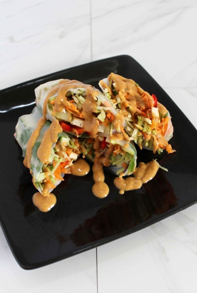 Tofu and Vegetable Vegan Spring Rolls in Rice Paper Wrappers