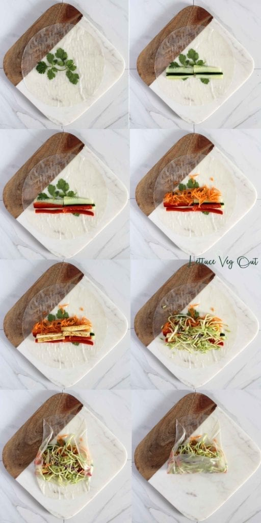 How to Roll a Fresh Vegan Spring Roll with Rice Paper