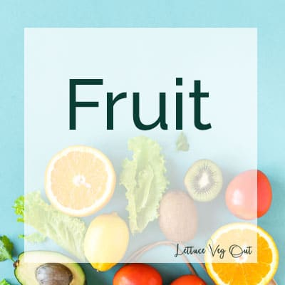 """Title image with """"fruit"""" text and different fruits laid out on a light blue background"""
