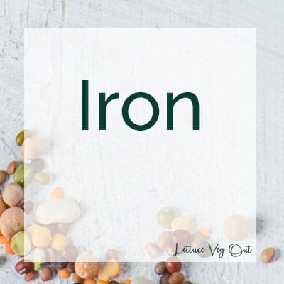 Iron text with background of grey tile and a scattering of dry legumes/ pulses