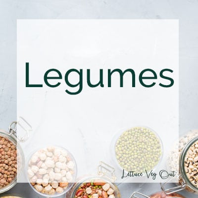 """Title image with """"legumes"""" text and small jars of different legumes in the background"""