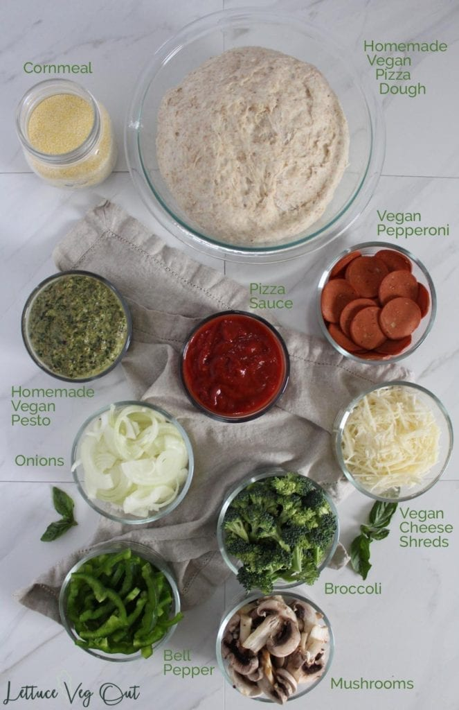 Vegan calzone ingredients for classic and pesto variations