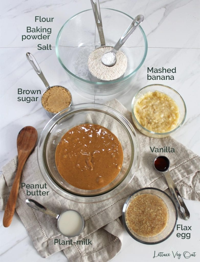 Ingredients for vegan peanut butter cookies with banana laid out and labeled