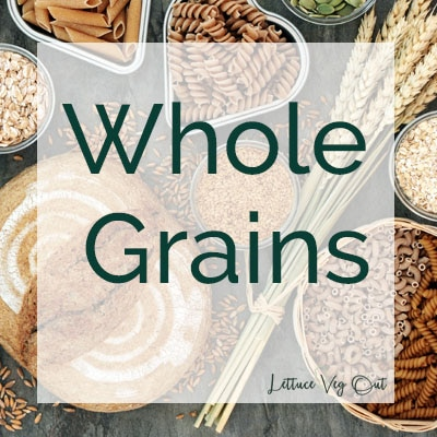 """Title image with text reading """"whole grains"""" over a background of various whole grains and bread products"""