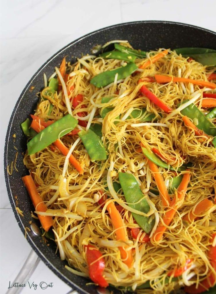 Large pan of vegan Singapore noodles (rice vermicelli noodles)