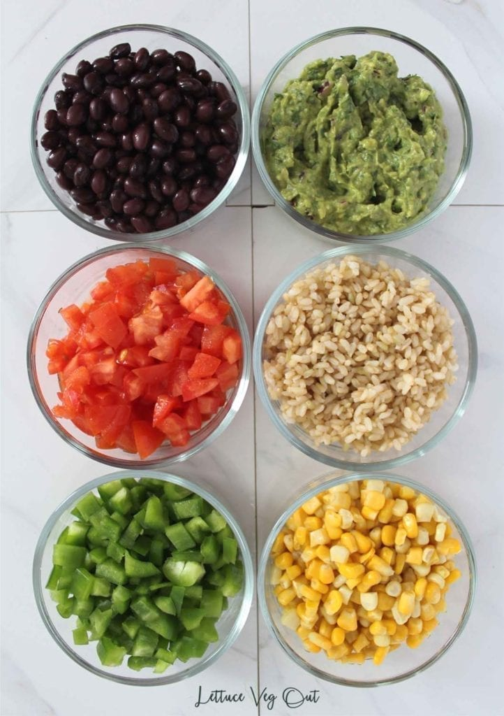 Ingredients for a vegan burrito bowl (whole foods)