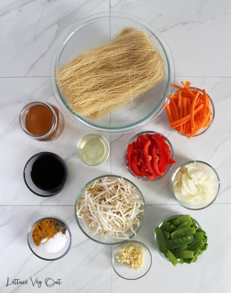 Ingredients for vegan gluten free Singapore noodles
