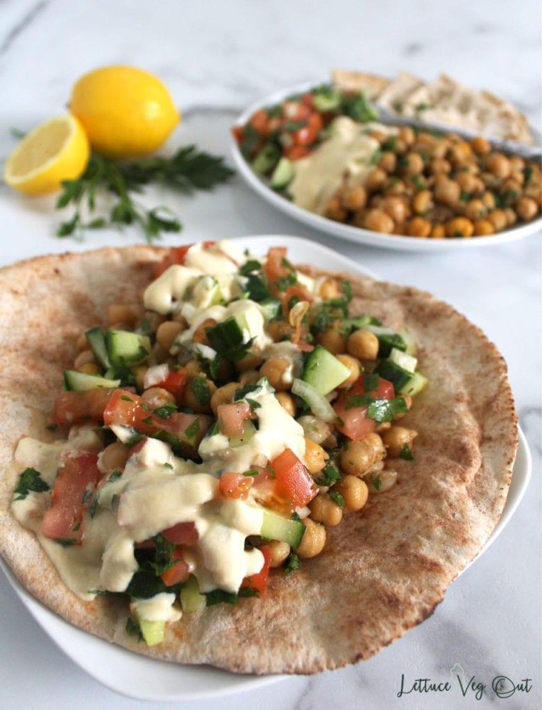 Falafel chickpeas in a pita bread wrap (vegan falafel wrap)