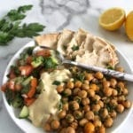 Falafel plate recipe with hummus sauce for dinner