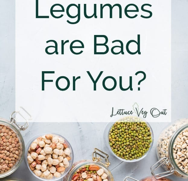 Legumes are bad for you? title image with slate background and jars of dry legumes
