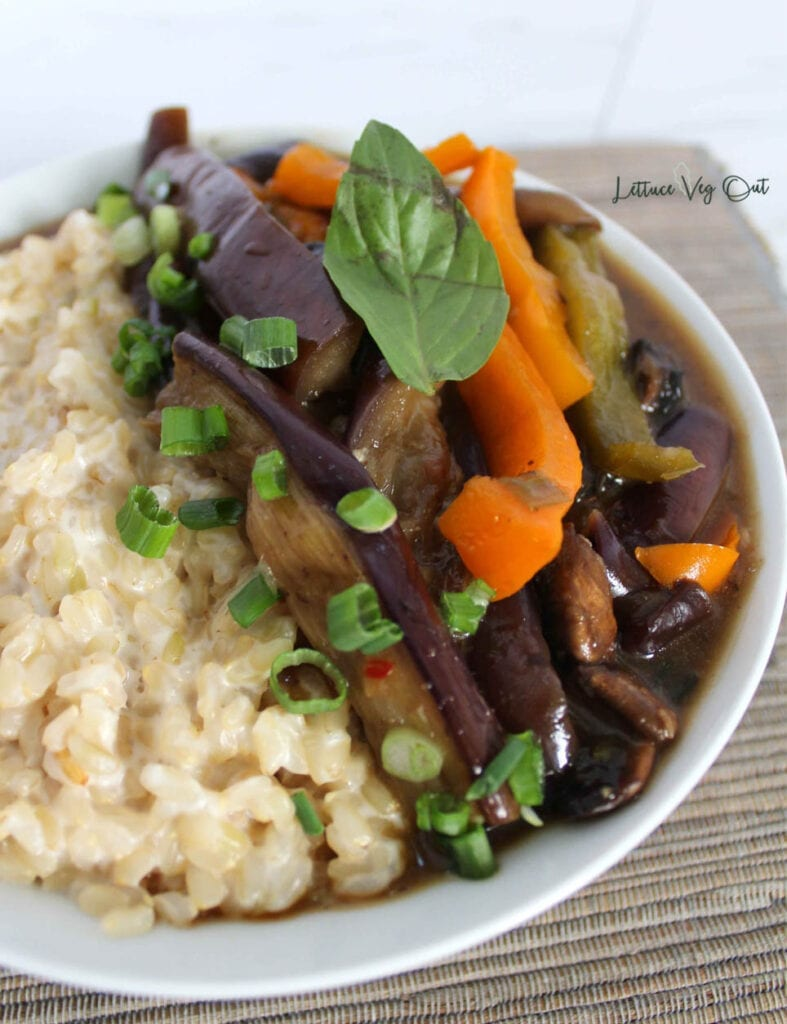 Bowl of eggplant stir fry with coconut rice