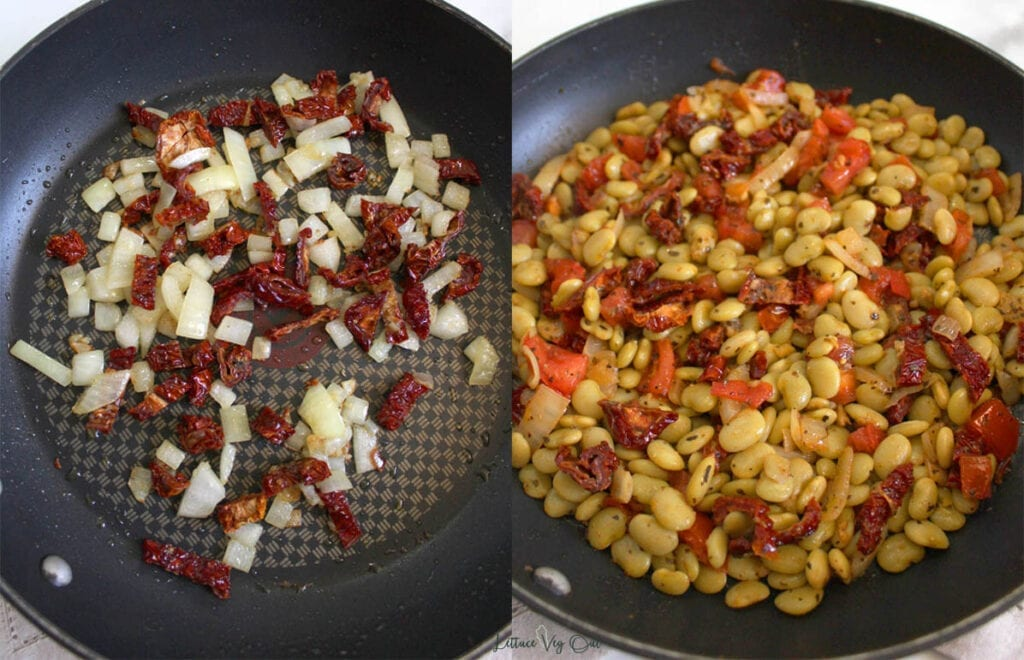 Split image with left side showing large pan with onions, garlic and sun dried tomatoes cooking and the right side showing the same pan with added butter beans, tomatoes and spices