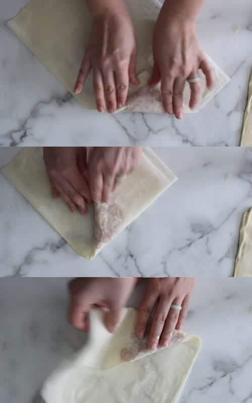 Image showing first three folds of homemade apple turnovers to form triangle shape