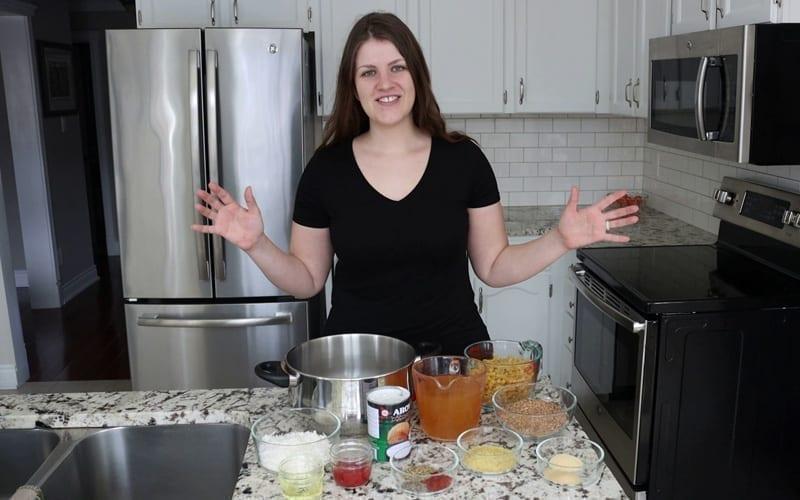Dairy-free, plant-based ingredients needed to make a vegan hamburger helper recipe