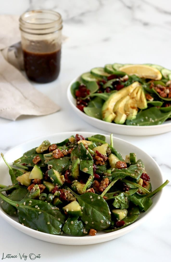 Vegan Spinach Salad Recipe With Maple Balsamic Dressing