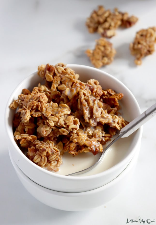 Top view of a small white bowl full of granola nut clusters. A spoon rests in the bowl with most of the handle cropped out of image. Soy milk fills the bowl and there are blurred granola clusters sitting to the right behind the bowl.