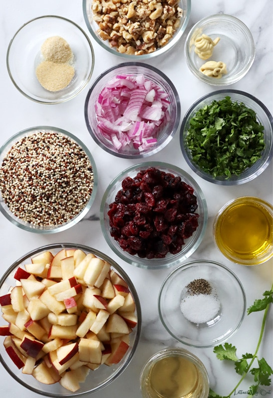 Top view of prepped ingredients in small glass dishes sitting on white-grey marble. From top left: onion and garlic powder, chopped walnuts, Dijon mustard, chopped red onion, chopped cilantro, tri-color quinoa, dry cranberries, oil, chopped red apple, salt and pepper, vinegar.