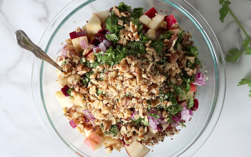Top view of large glass bowl of prepped quinoa salad ingredients sitting on white-grey marble: tri colored quinoa, chopped red apple, red onion, cilantro, walnuts and dry cranberries.