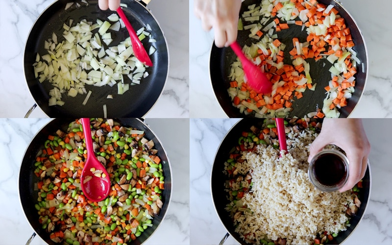 Four images showing the steps of preparing vegetable fried rice. Top left: onions being cooked in pan. Top right: Hand holding red spoon and stirring carrots and onions around pan. Bottom left: red spoon sitting on top of cooked vegetables (edamame, onion, carrot, corn, and mushrooms). Bottom right: hand holding small jar of soy sauce over pan with a layer of veggies at the bottom and topped with a large pile of cooked rice.