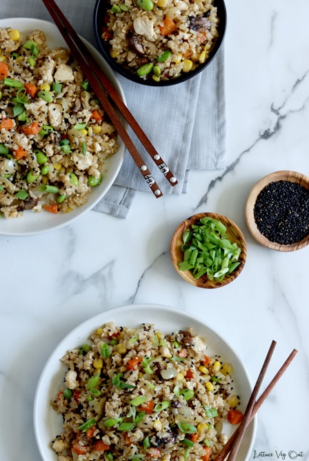 Top view of two large white plates and one small black bowl all filled with tofu fried rice. Both plates and the bowl are partially cropped from image. Plates both have a set of wood chopsticks on them. White-grey marble background with two small wood bowls, one with green onion and the other black sesame seeds, as decoration in the center-right part of image.