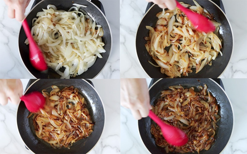Compilation of 4 images each showing the top view of a pan with onions cooking in it. Top left is mostly white onions that are just starting to soften. Top right the onions are lightly golden brown with some darker browning in spots. Bottom left the onions are a medium golden brown. Bottom right the onions are a dark brown and have shrunk in size compared to the other images.