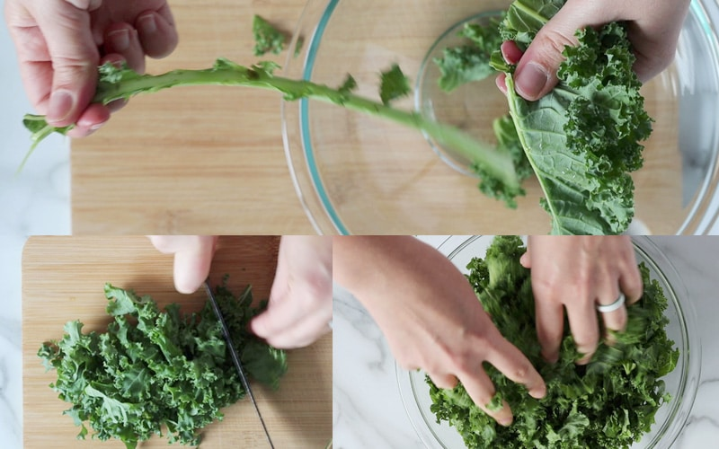 Compilation of 3 images showing how to prep raw kale. The top half shows hands ripping the stem away from the kale leaf (stem in one hand, kale leaf in the other). The bottom left shows kale being sliced on a wood cutting board. The bottom right shows kale in a glass bowl with two hands grabbing at the kale leaves (massaging the kale).
