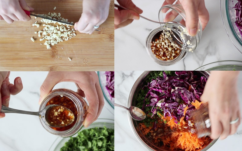 Compilation of 4 images showing how to prepare the slaw dressing. From top left going right then down: wood cutting board where garlic is being minced by two hands holding a black knife; a small glass bowl of chopped garlic is being spooned into a second small jar that is filled with a dark brown liquid; a hand is holding a jar of prepared dressing while the other hand is showing a spoonful of the dressing that is dark brown in color with flecks of garlic and ginger; a hand is pouring the jar of dressing over a bowl filled with kale, red cabbage and grated carrot.