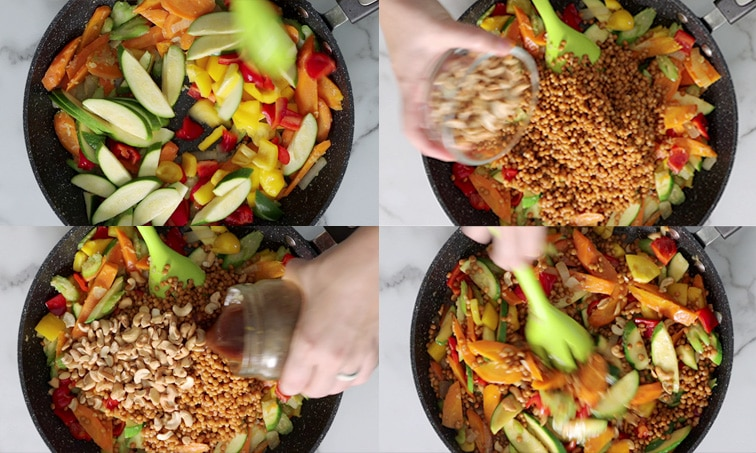 Compilation of 4 images showing the top view of a large pan. Top left: bell pepper and zucchini added to a pan of partially cooked onion, carrots and celery. Top right: cooked lentils added to the pan and a hand is about to dump a glass bowl of cashews in. Bottom left: a hand pours dark brown stir fry sauce into the pan, over the cashews and lentils. Bottom right: cooked stir fry being stirred with a green spoon.