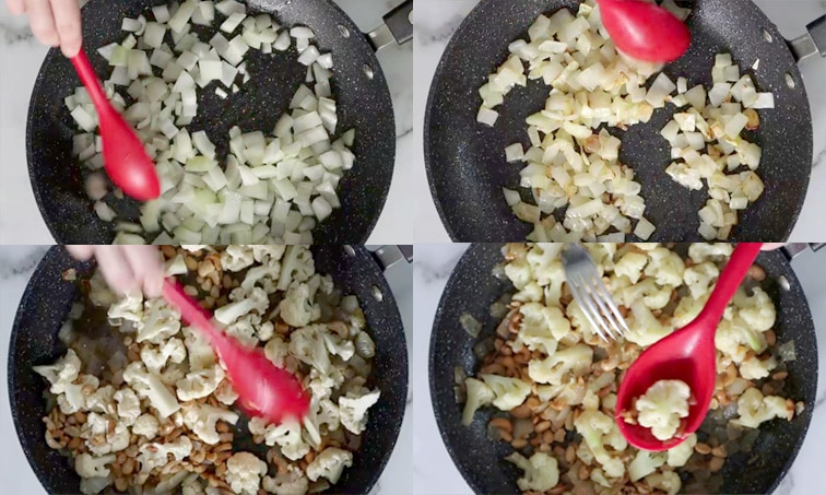 Compilation of 4 images each showing a large black pan. Top left: diced onion being stirred with a large red spoon. Top right: softened and slightly browned onion. Bottom left: cashews, cauliflower and water are being stirred into the onion. Bottom right: red spoon with a piece of cooked cauliflower being held up over the pan with a fork about to poke the cauliflower.