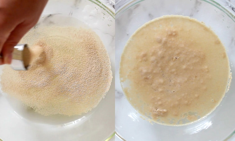 Side-by-side images showing a large glass bowl. Left image: hand sprinkling yeast into water. Right: foamy, bubbling yeast in water.
