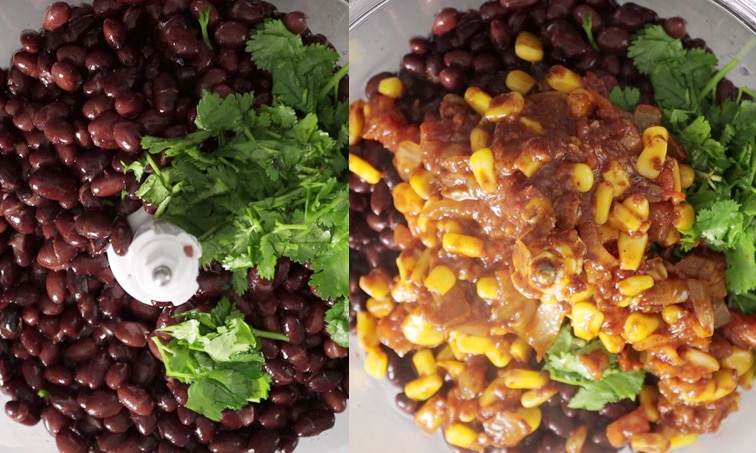 Side-by-side images of a food processor. Left shows black beans and cilantro in the processor. Right shows a mixture of corn and spices added on top of the black beans.