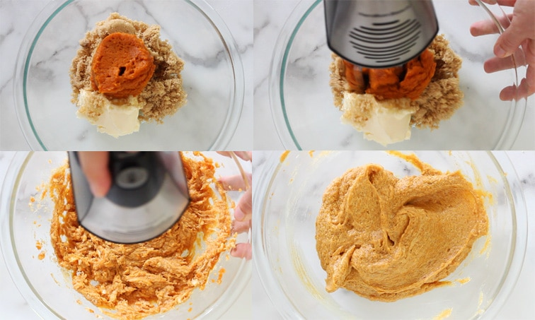 Four images showing the top down view of a large glass bowl. Top left: brown sugar, pumpkin puree and butter in bowl. Top right: hand blender beginning to whip the ingredients. Bottom left: ingredients continue to be whipped but are still chunky. Bottom right: ingredients are smooth and combined.