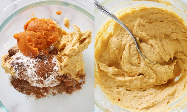 Two side-by-side images showing the top down view of a glass bowl. Left shows orange batter topped with pumpkin puree, flour and spices. Right shows this mixture blended to smooth, with a spoon sitting in the mixed batter.