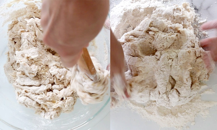 Side-by-side images. Left: hand stirring crumbly-looking dough in glass bowl. Right: hands kneading dough on floured surface.